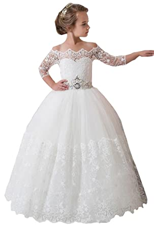 Amazon.com: hengyud Fancy Ivory White Lace Flower Girl Dress Long Girls Pageant Dresses 2-12 Year Old 169: Clothing