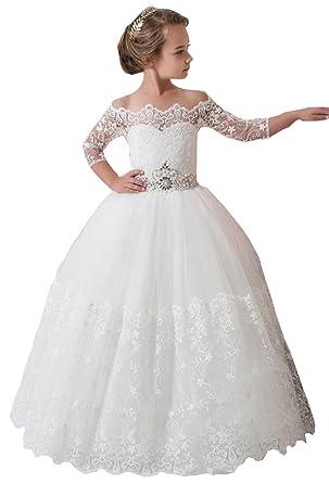 be7ed4c8be0 Amazon.com  hengyud Fancy Ivory White Lace Flower Girl Dress Long Girls  Pageant Dresses 2-12 Year Old 169  Clothing
