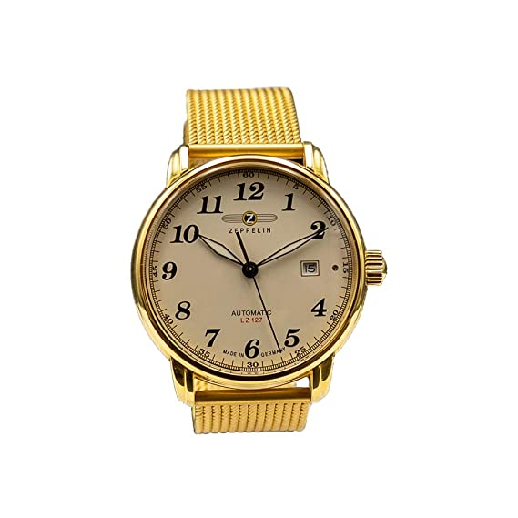 Zeppelin Planeador automático para hombre reloj Limited Edition Milanaise pulsera chapado en oro 7658 – 1