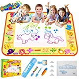 TECBOSS Aqua Magic Mat, Kids Painting Writing Doodle Board Toy, Colorful Water Drawing Pad Mess Free with Magic Pens Educational Girl Toys for Age 1 2 3 4 5 6 Year Old Girls Boys Toddler, Gift Box
