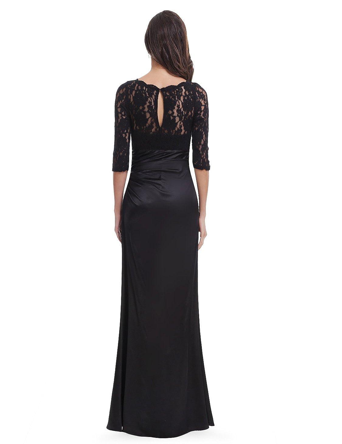 Ever-Pretty Elegant Lace Long Sleeve Formal Floor Length Evening ...