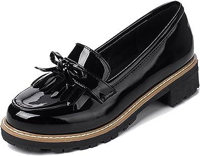 Top Brand Girls Ladies Patent Tassel Loafer Causal School Shoes Gift Sz 4-5