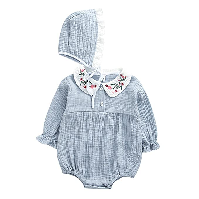 4028b69be BOBORA Baby Girls Clothes Embroidery Flowers Peter Pan Collar Romper ...