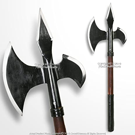 Medieval Gears Brand 23quot Iron Blackened Axe Poleaxe Polearm Sharp SCA WMA LARP Cosplay