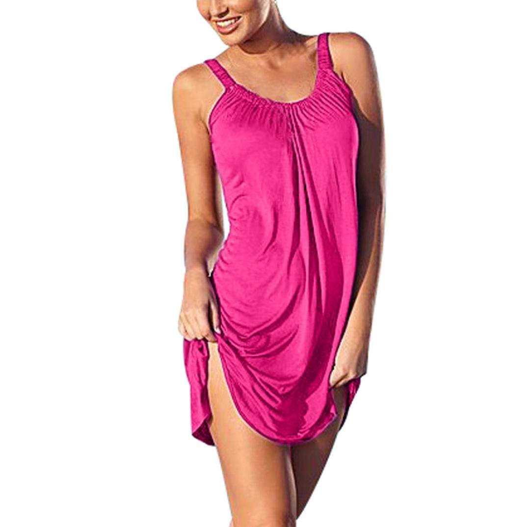 Gyoume Summer Beach Dress for Women Halter Dress Sleeveness Dress Above Knee Mini Skirt (S, Hot Pink)