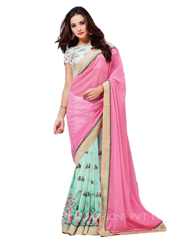 EthnicWear9 Pink Designer Party Wear Georgette Bollywood Saree
