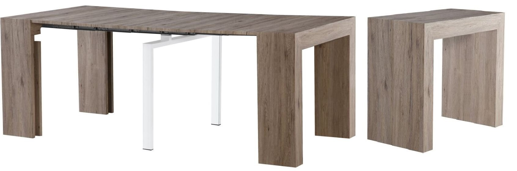 Extendable Space Saving Modern Dining Table, Transforms From a Console Table or Desk to a Large Dining Table That Seats Up to Twelve, By MiniMax Decor
