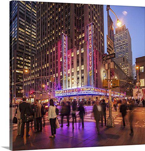 (Guido Cozzi Premium Thick-Wrap Canvas Wall Art Print Entitled New York City, Rockefeller Center, Radio City Music Hall, 6th Avenue )