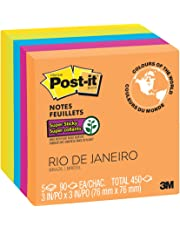 "Post-it Notes Super Sticky Notes, 3"" x 3"", 5 Pads, 90 Sheets/Pad, Rio de Janeiro Colours"