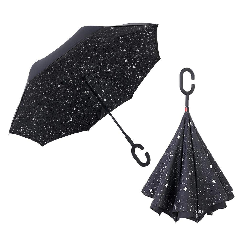 Dailyfun 287/5000 リバーシブル傘 2層 折りたたみ式 防風 UV保護 スタイリッシュな外観 持ち運び簡単 男女兼用 (逆さ傘 - C) Dailyfun-123 B07M8HXJFR Black Starry Sky