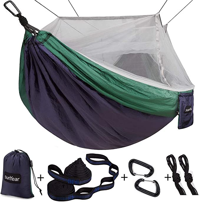 Single & Double Camping Hammock with Mosquito/Bug Net - Best For Camping