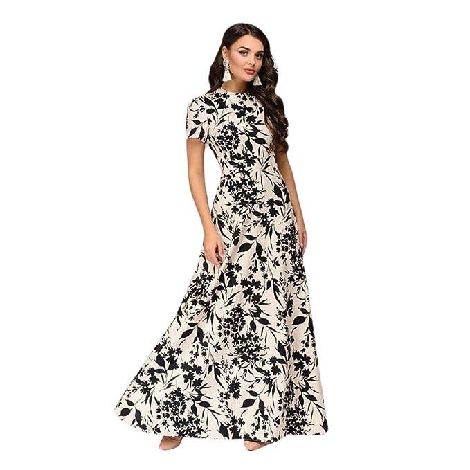 Xinwcang Elegant Vestido Largo Floral Print Casual Manga Corta para Noche Playa Fiesta Vintage Maxi Vestidos