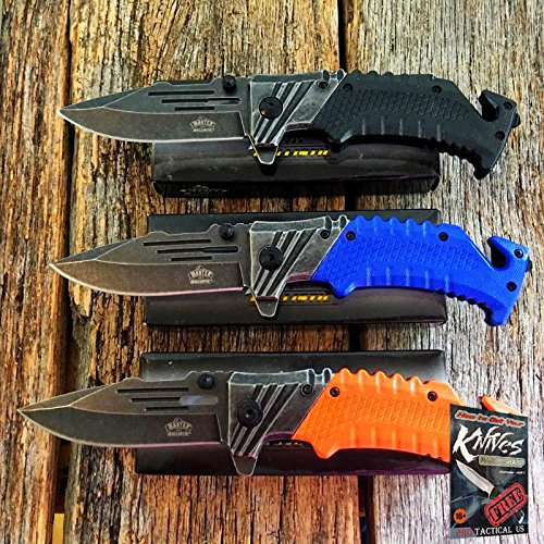 (3 PC ASSORTED SET Spring Assisted Open Tactical Folding Blade Pocket Elite Knife NIB + free eBook by ProTactical'US )