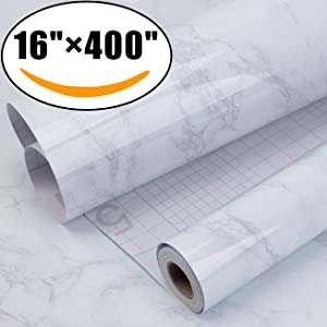 Marble Self Adhesive Paper 16 inch x 400 inch - Granite Gray/White Roll Kitchen countertop Cabinet Furniture is renovated Thick Waterproof PVC