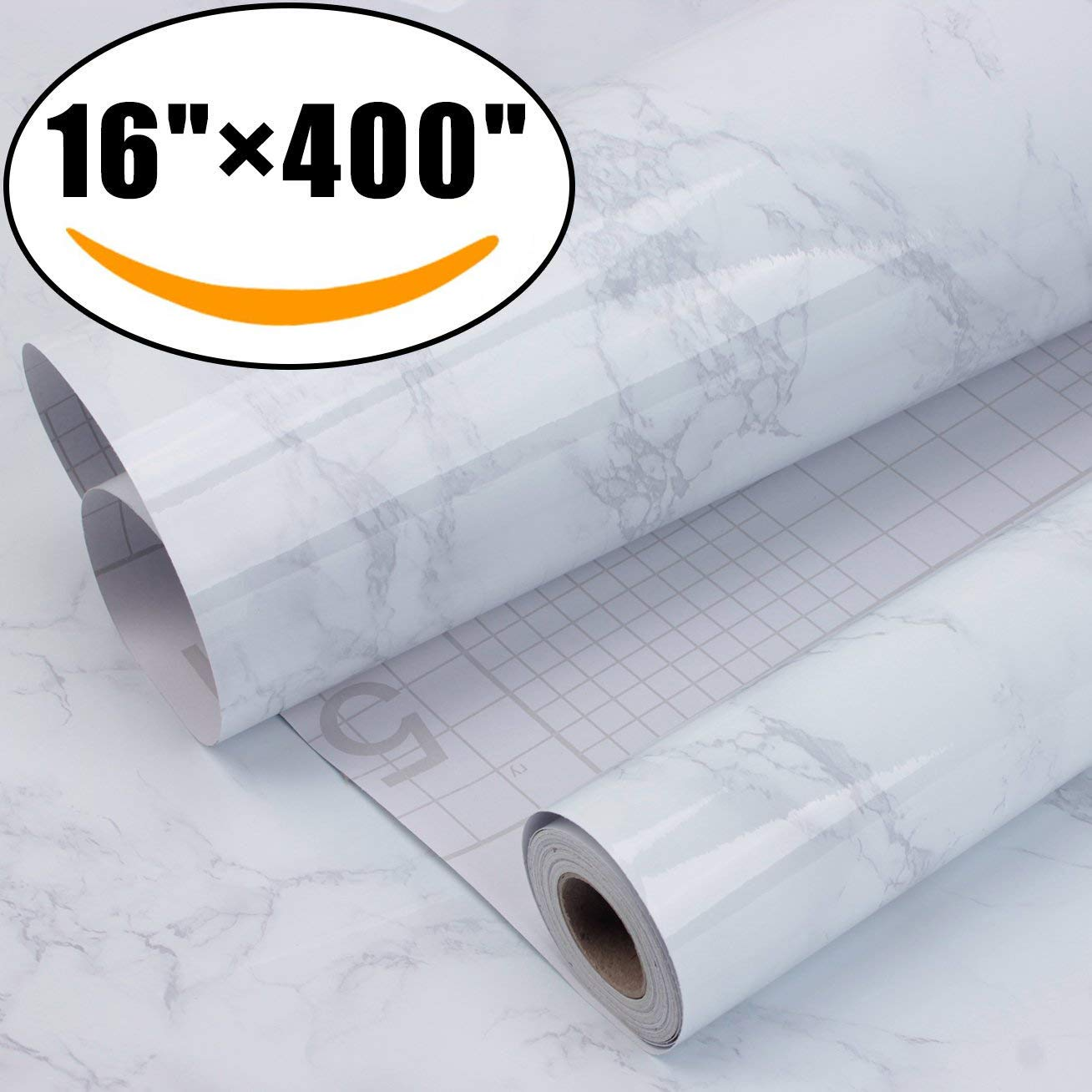 Marble Self Adhesive Paper 16 inch x 400 inch - Granite Gray/White Roll Kitchen countertop Cabinet Furniture is renovated Thick Waterproof PVC by AROIC