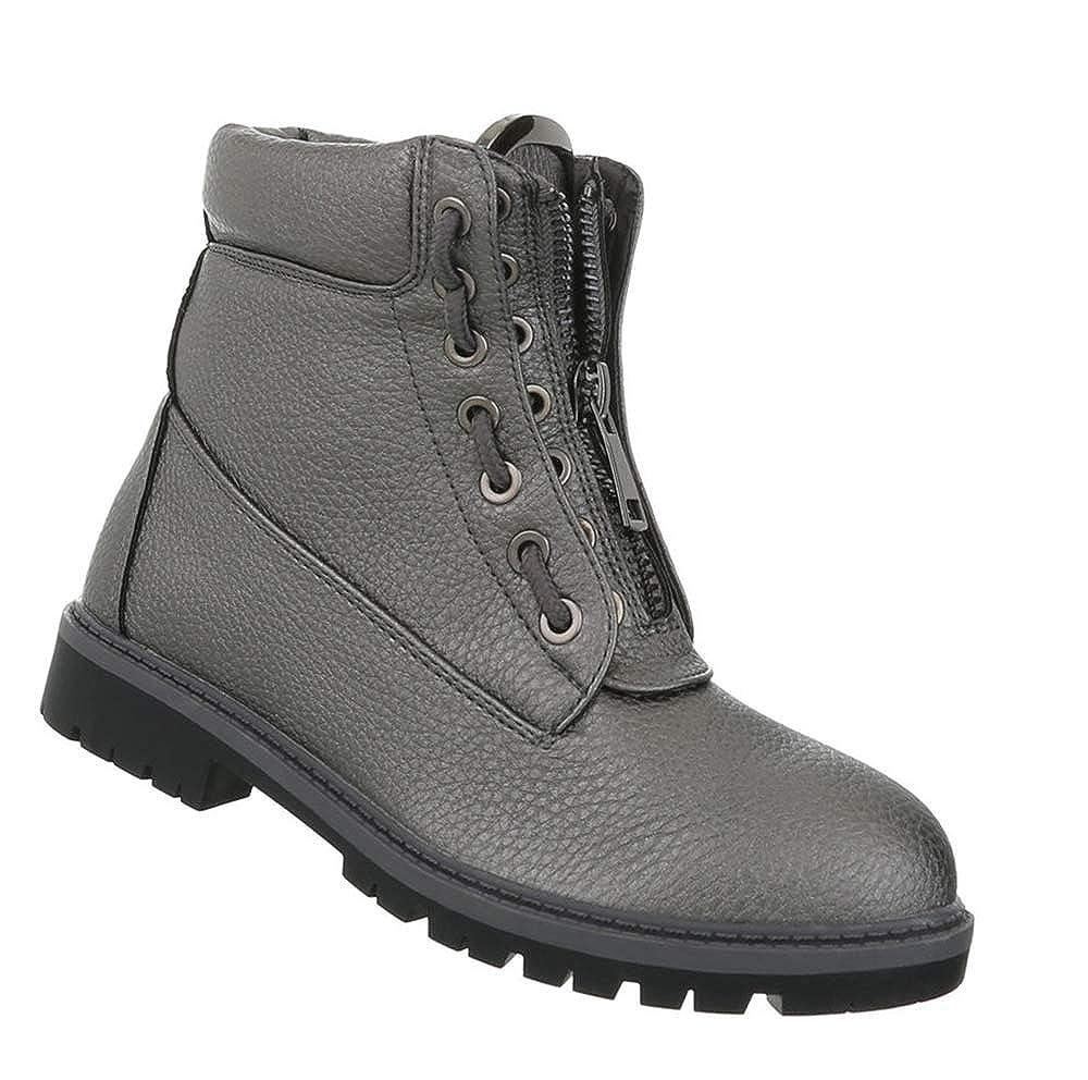 Damen Schuhe Stiefeletten Schnürstiefel Leder-Optik Stiefel Flache Stiefelies 36-41