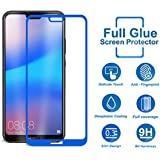 Systek Huawei P20 Lite Tempered Glass 5D Full Screen Protector Edge to Edge Screen Guard for P20 Lite [Full Glue] [NO Rainbow] [SHATTERPROOF] (Blue)