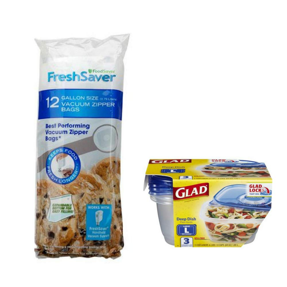 FoodSaver FreshSaver 1-Gallon Vacuum Zipper Bags (12 Count) w/Food Storage Containers