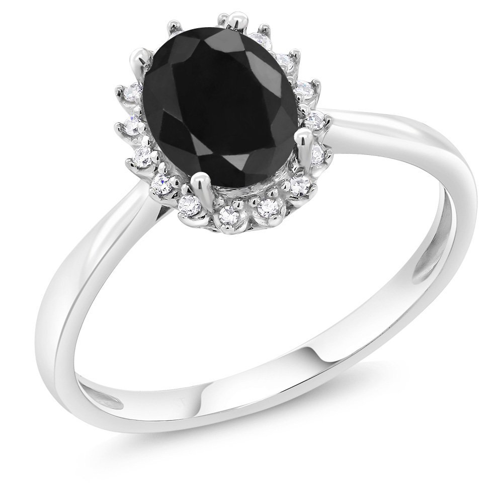 10k White Gold 1 66 Ct Oval Black Sapphire Engagement Ring With