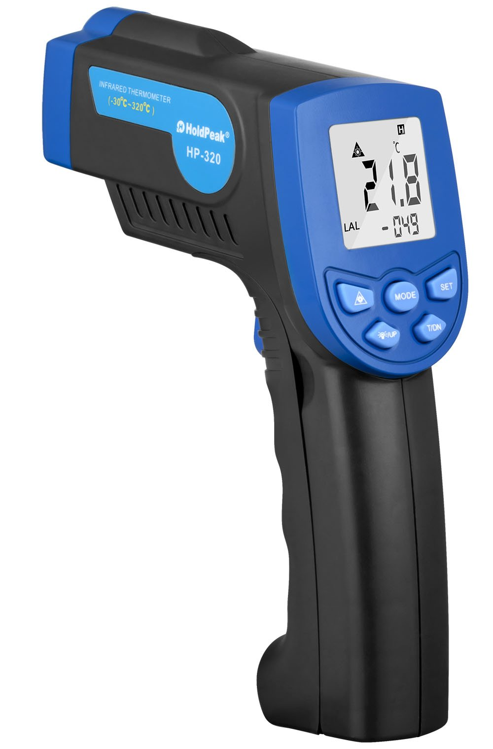 HOLDPEAK 320 Non-Contact Digital Laser Infrared Thermometer Temperature Gun -22 to 608°F (-30 to 320°C) with Laser and LCD Backlit (Blue)