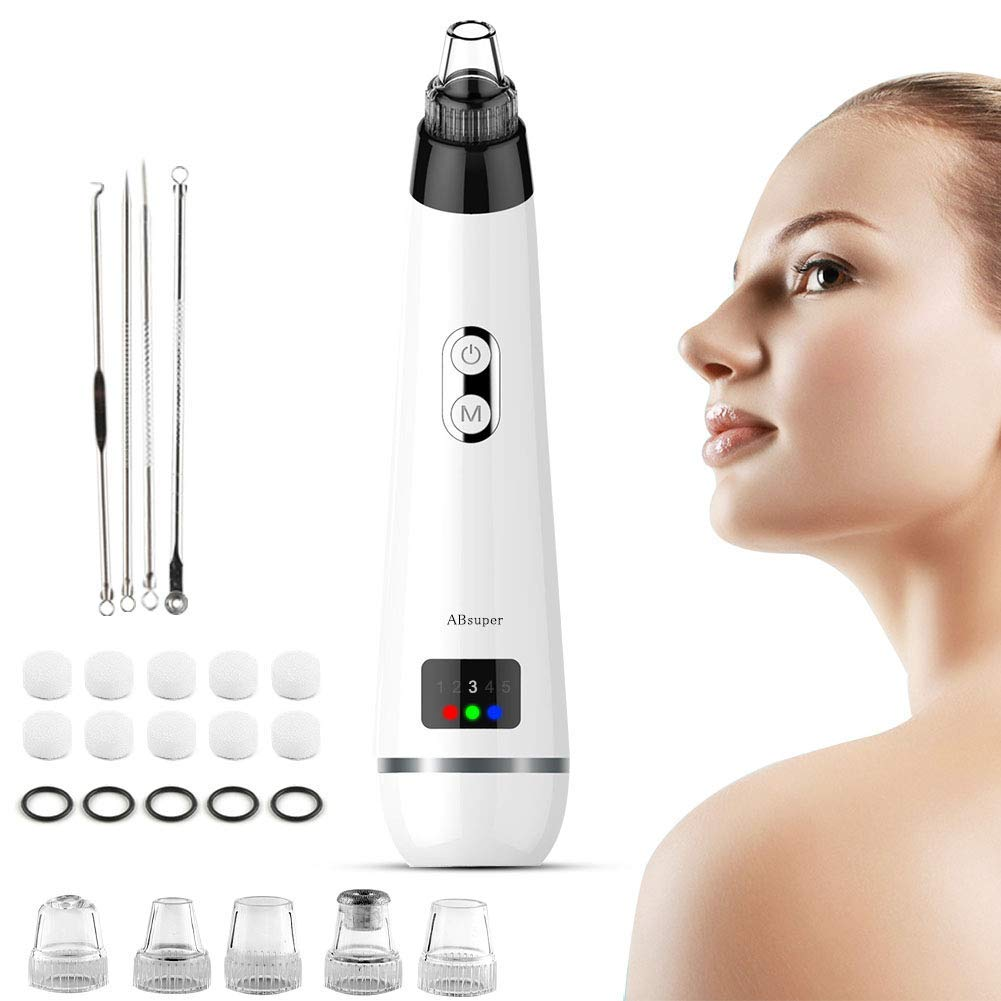 Blackhead Remover Pore Vacuum, ABsuper Rechargeable Electric Facial Pore Cleaner with 5 Replacement Probes Suction Head, Spot Treatments as Face Nose Blackhead Whitehead Remover with LED Display