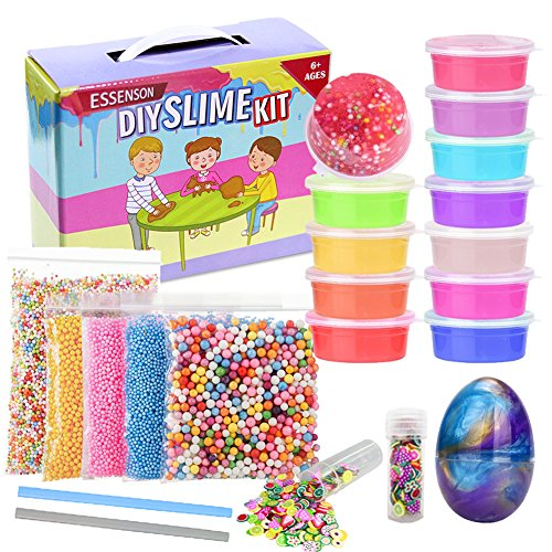 ESSENSON Slime Kit Slime Supplies Make Your Own Clear Crystal Slime Foam Slime Glitter Slime, Slime Making Kit for Girls Boys Kids, Includes Clear Crystal Slime, Foam Balls, Egg Slime by ESSENSON