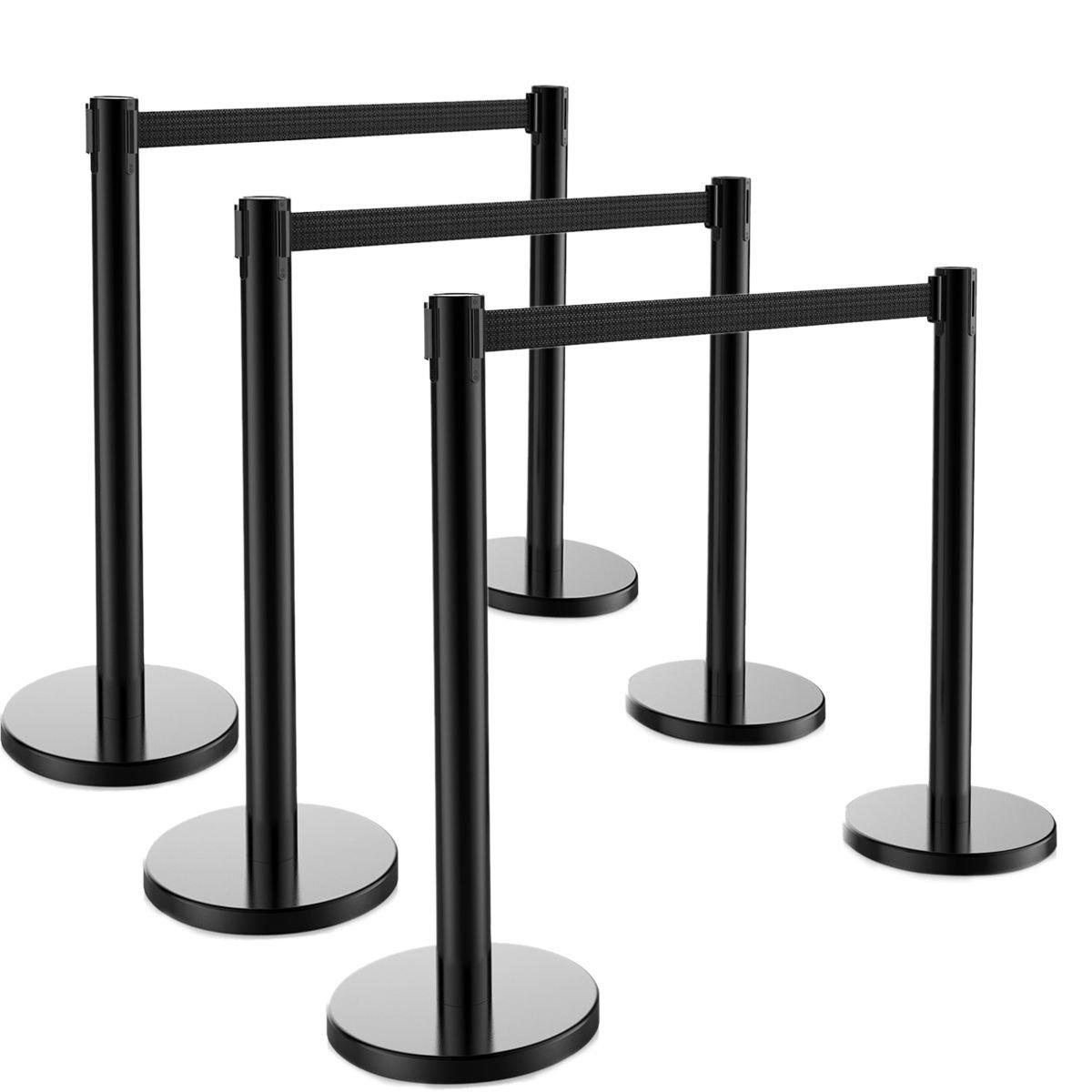 6 PCS Crowd Control Barrier Stanchion Posts Queue Pole Retractable Black Belt