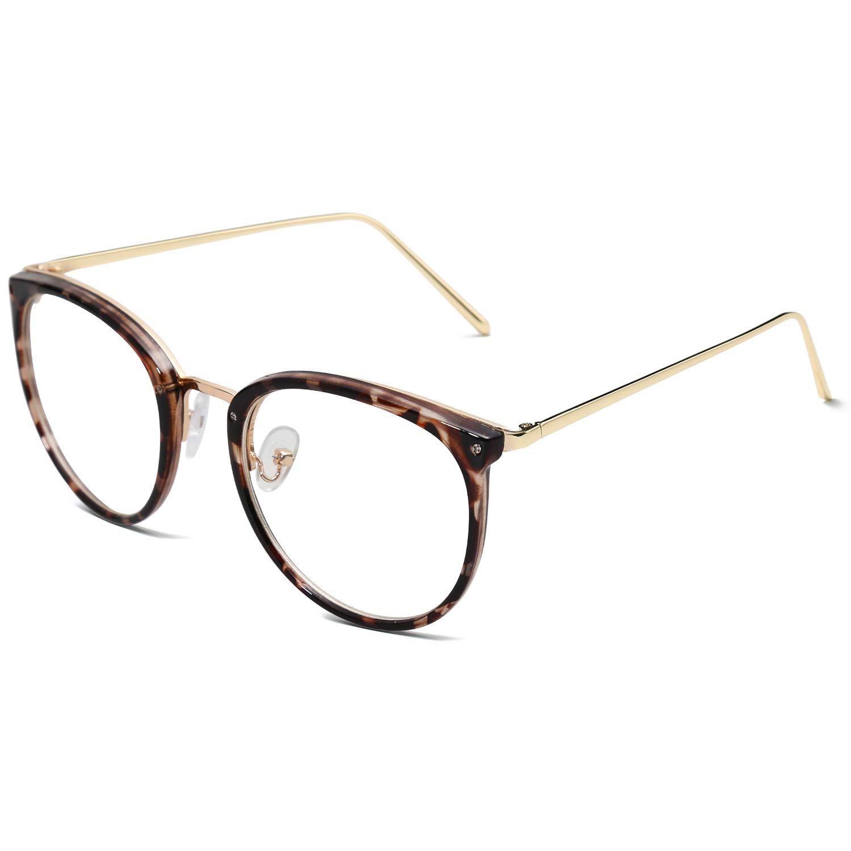 0f5646da8b2 Amazon.com  Amomoma Fashion Round Eyewear Frame Eyeglasses Optical Frame  Clear Lens Glasses AM5001  Clothing