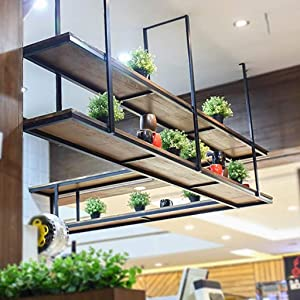 LJWJ Bar Wine Rack Restaurant Wall-Mounted Wine Bottle Rack,Solid Wood Wine Holder|One-Word Partition Hanging Shelf Kitchens Bar Counter Ceiling Flower Stand,150X30Cm