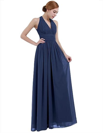 iEFiEL Vestido Largo de Boda Cóctel para Mujer Dama de Honor Cuello V Espalda al Aire Azul Oscuro 34: Amazon.es: Ropa y accesorios