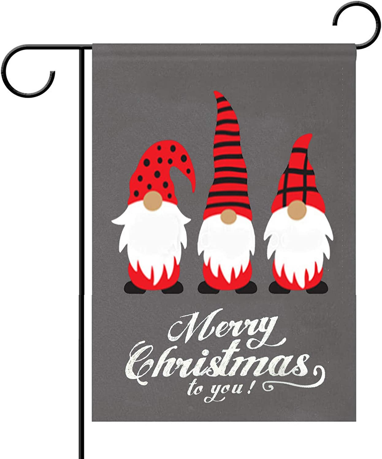 Deloky Merry Christmas Gnomes Garden Flag-12.5 x 18 Inch Double-Sided Printed Christmas Winter Farmhouse Yard Burlap Banner for Home & Outdoor Decoration (Red Gnomes)