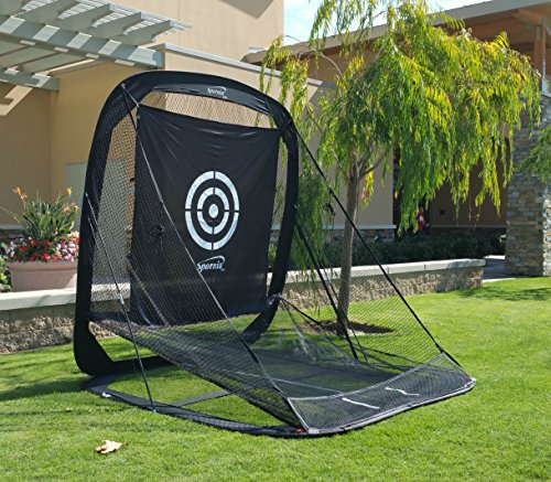Spornia Golf Practice Net (3 in 1 Bundle) – Automatic Ball Return System W/ Target sheet,Two Side Barrier w/ Heavy Hitting Turf Mat w/ Chip Net Basket
