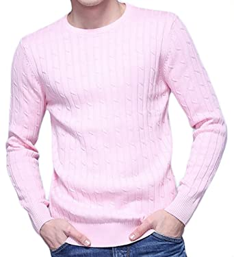 c8c62cecb19 Oberora mens casual long sleeve crew neck cable knit solid pullover jpg  342x375 Mens pullover sweater
