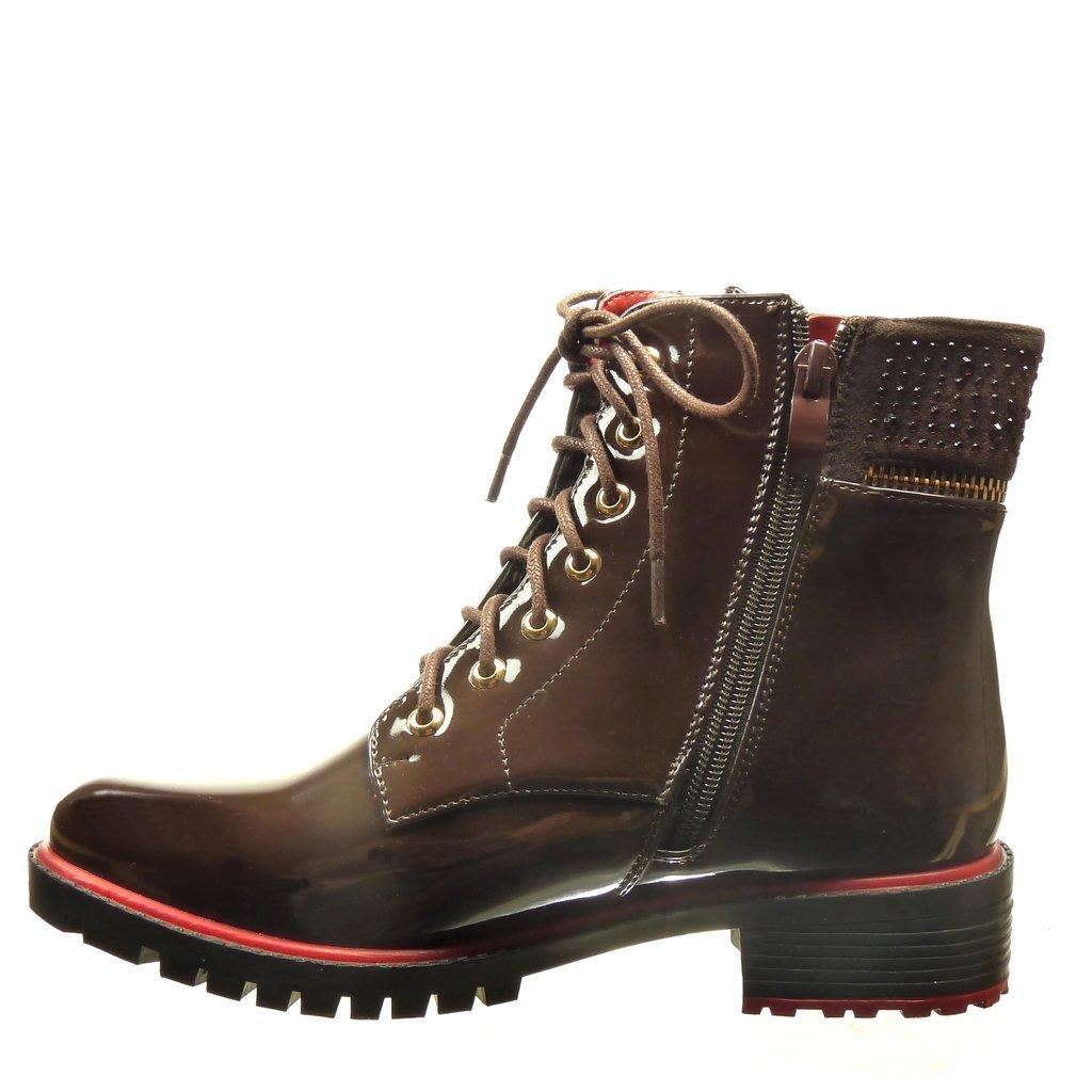 Angkorly - Damen Schuhe Stiefeletten - Combat Stiefel Stiefel Stiefel - Gummistiefel - Strass - metallisch - Reißverschluss Blockabsatz 3.5 cm d47aae