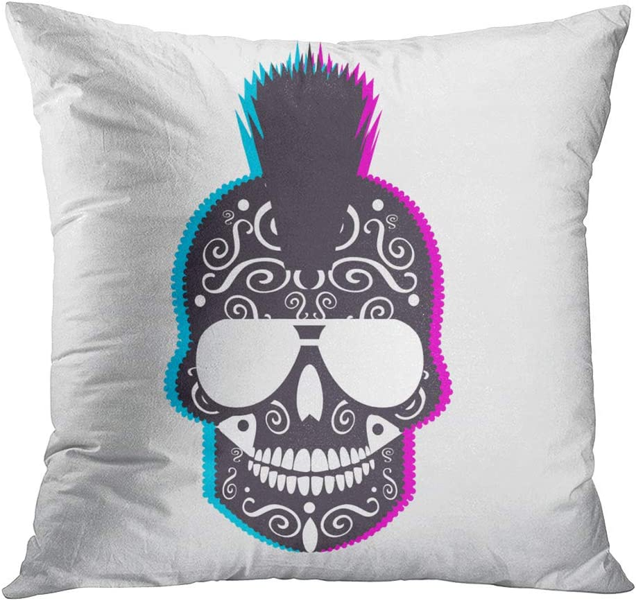 Sgvsdg Throw Pillow Covers Skull Punk Rock Crazy Hippie Sunglasses Mohawk Square Hidden Zipper Home Sofa Living Room Cushion Decor Pillowcases 26 x 26 Inch