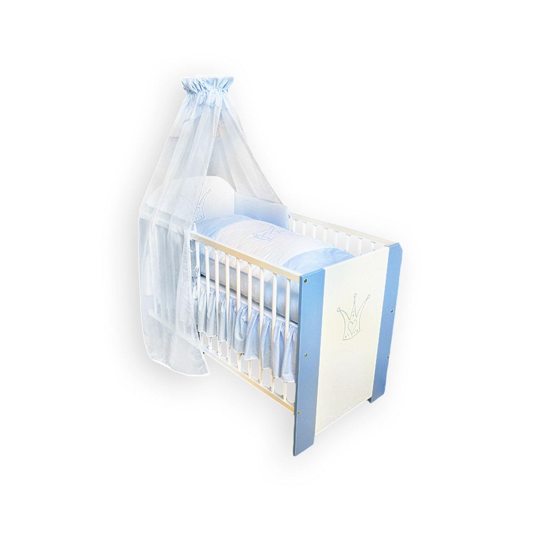 Kinderbett Babybett Krone blau 120x60, inkl. Matraze, Bettwäsche, Himmel