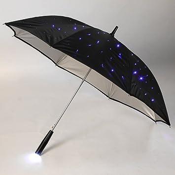 CAMTOA hoja de camino de luz flash LED noche paraguas protección paraguas LED luminoso Cool paraguas