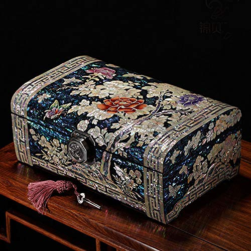 HAIHF Jewelry Box, Hand-Painted Wooden Push Lacquer Ware Jewelry Box Wedding Gift With Lock Solid Wood Jewel Ring Storage Gift Box, Chinese Oriental Furniture & Gifts