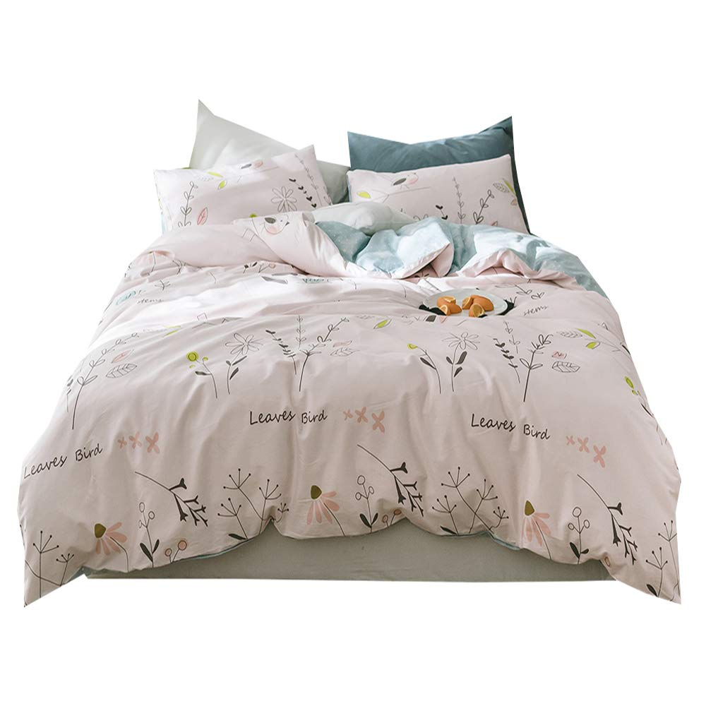 Floral Pink Summer Duvet Cover Set Twin Birds Leaves Print Girls Duvet Cover Set 100% Cotton Blue Reversible Bedding Cover Set for Teens Children Adults Luxury Soft Kids Twin Duvet Cover Set, Style4
