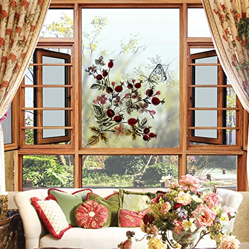Keepforeverlove Frosted Glass Sticker, Vintage Rose flowers Frosted Sticker For Bathroom Balcony Sliding Door Waterproof Decorative Window Film(7131) ()