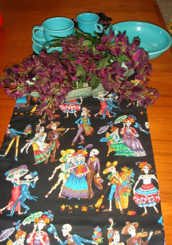 Day of the Dead Dia De Los Muertos Table Runner Celebration Halloween Party (Dia De Los Muertos Fabric Alexander Henry)