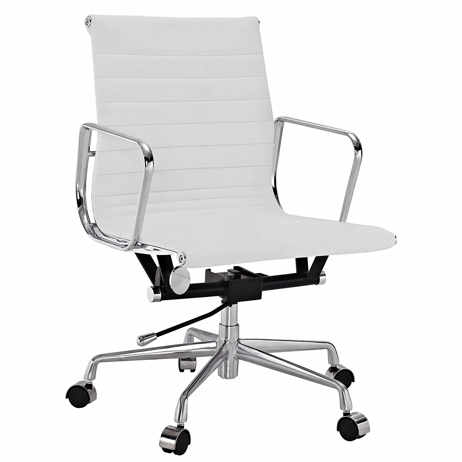 Amazon com emodern furniture eames style aluminum group management office chair reproduction leather white kitchen dining