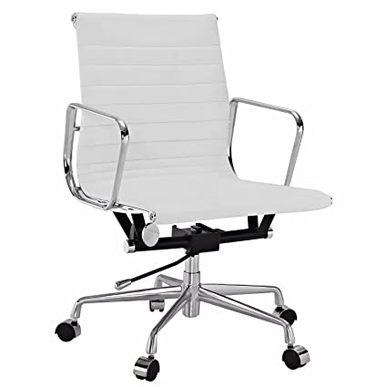 Groovy Emodern Furniture Eames Style Aluminum Group Management Office Chair Reproduction Leather White Machost Co Dining Chair Design Ideas Machostcouk