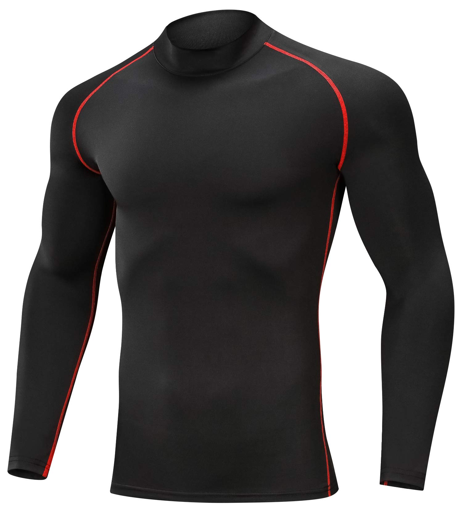 SILKWORLD Men's 3 Pack Compression Shirt Dry Fit Long-Sleeved Sports Baselayer (SW82_1 Piece: Black(Red Stripe), Medium (Fit Chest 32.5''-35''))