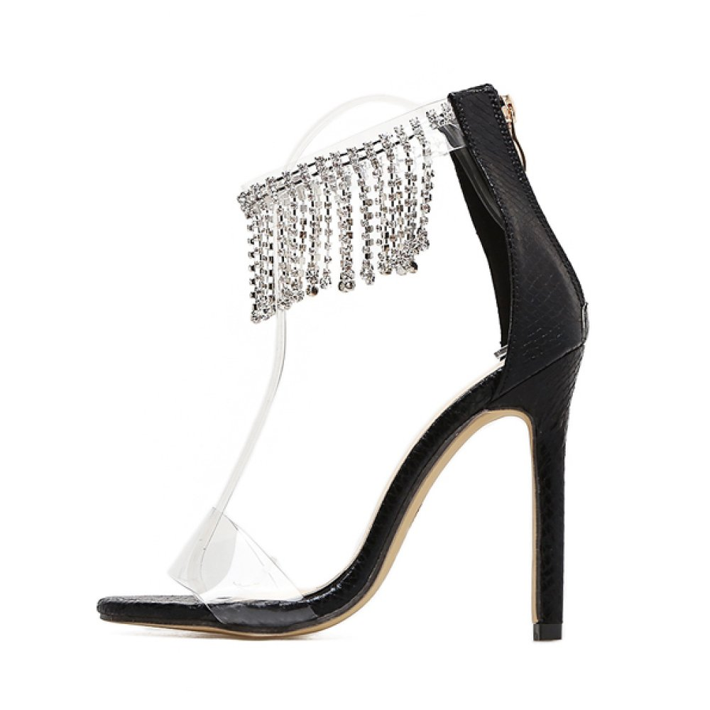 ZPFME Frauen Stiletto Quaste Strass Peep Toe High Heels Heels Heels Sexy Knöchelriemen Sandalen Damen Kleid Ausgeschnitten Schuhe de6ff1