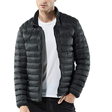 GOVOW Nylon Jackets for Men Blue Zipped Thick Solid Fleece ...