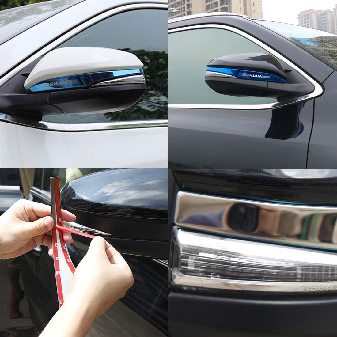 Nayilin Fit for Toyota Highlander Car Side Mirror Cover Trim Exterior Chrome ABS Decorato Frame 2pcs Custom Suitable Fit for Highlander 2015 2016 2017 2018 Silver with Red Logo