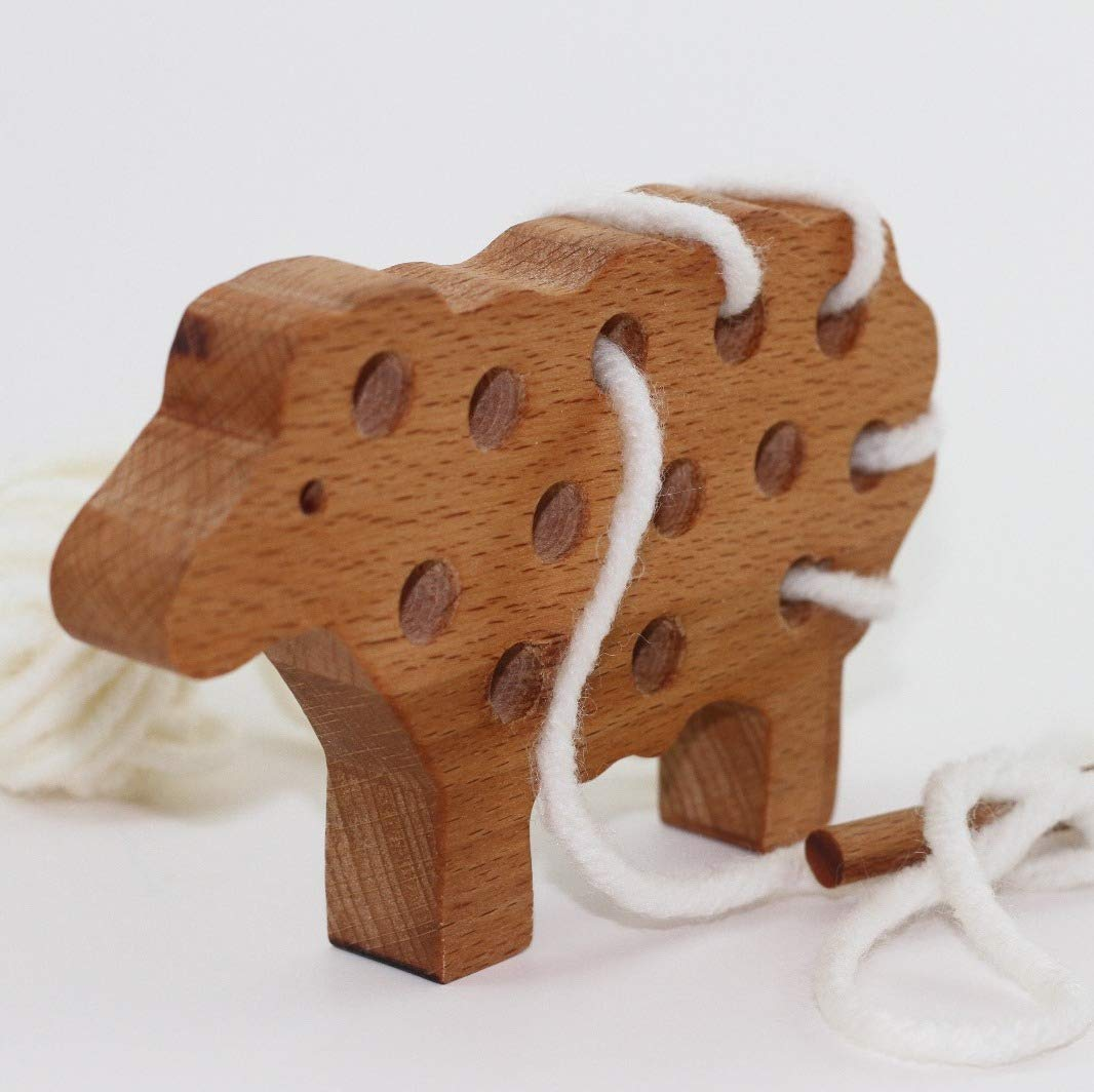 Wooden Sheep Toy Toddler Wood Toy Wooden Lacing Toy Educational Toy Sewing Toy Wooden Toys Learning toys Threading Toy Lacing toys