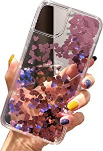 Topwin Glitter Liquid Bling Floating Compatible with iPhone 11 (6.1'') 2019, Sparkle Luxury Pretty Girls Crystal Clear Case for Apple iPhone 11 6.1'' 2019 (Rose Gold)