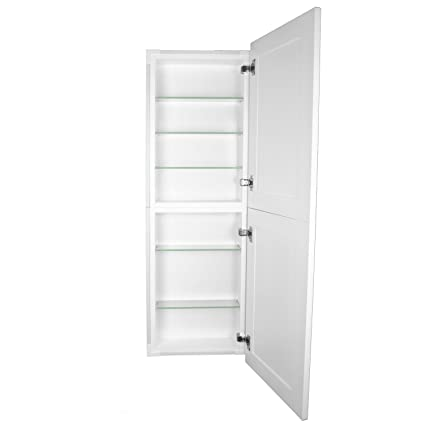 Astounding Wg Wood Products Fr 244 White Shaker Style Frameless Recessed In Wall Bathroom Medicine Storage Pantry Cabinet Multiple Finishes 14 X 44 White Beutiful Home Inspiration Xortanetmahrainfo